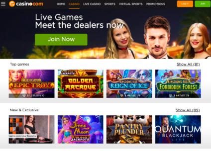 Casino.com Slot Page